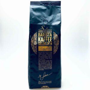 Beim Salina Barista Espresso erwartet Sie ein kräftig würziges Aroma mit leicht schokoladigem Geschmack.