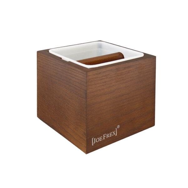 Der braune Abschlagbehälter von JoeFrex ist das perfekte Zubehör zu Ihrer Siebträgermaschine.